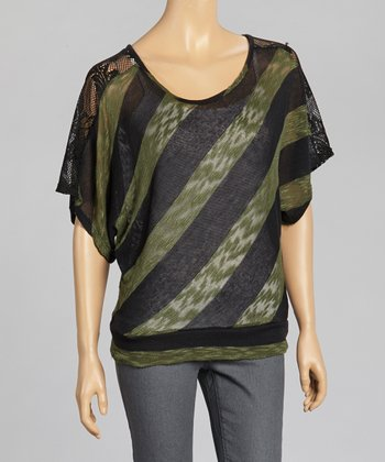 Green & Charcoal Stripe Lace Panel Cape-Sleeve Top