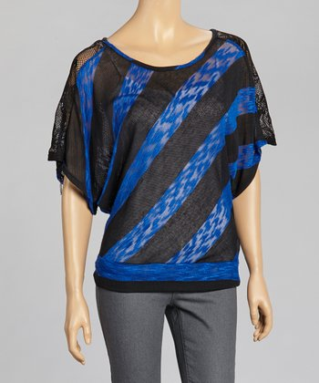 Blue & Black Stripe Lace Panel Cape-Sleeve Top