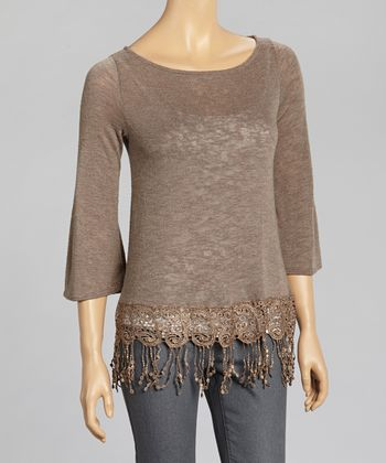 Tan Crochet Fringe Boatneck Top