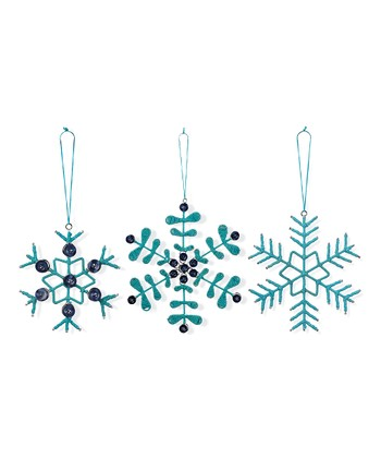Turquoise Snowflake Ornament - Set of Six