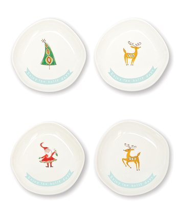 Mod Christmas Cocktail Plate - Set of Four