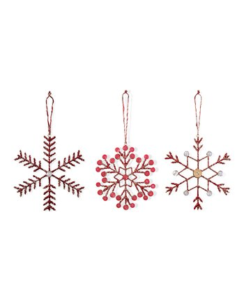 Coral Snowflake Ornament - Set of Six