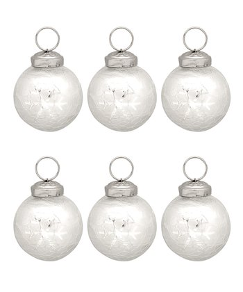 Snowflake Mercury Glass Ball Ornament - Set of Six