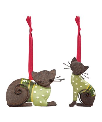 Christmas Sweater Cat Ornament - Set of Two