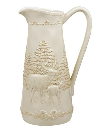 Ivory Deer & Pine Trees Bas-Relief Pitcher