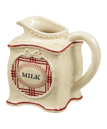 Red & Ivory Plaid Creamer Pitcher