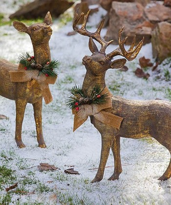 Golden Reindeer Statue Set