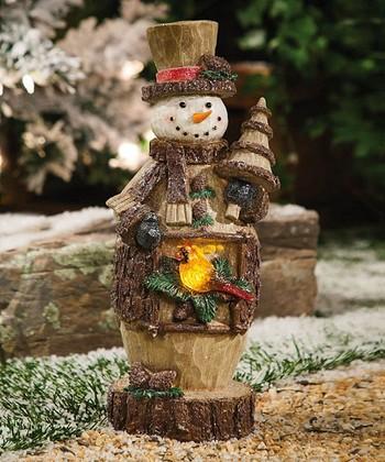 Rustic Light-Up Snowman Figurine