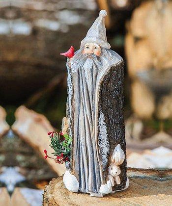 Tree Trunk Short Santa Figurine