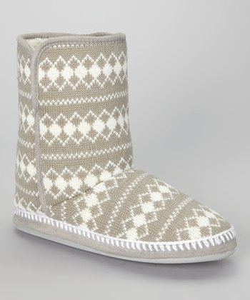 Gray Diamond Knit Slipper Boot - Women