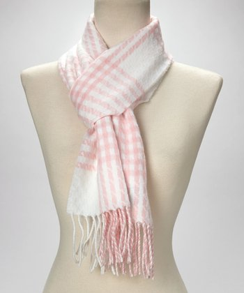Pink & White Plaid Cashmere Scarf