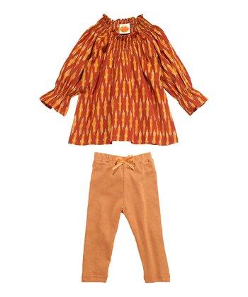 Masala Baby Rust & Peach Ikat Tunic & Leggings - Infant