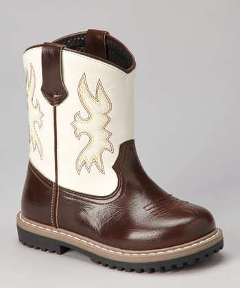 Brown & White Cowboy Boot