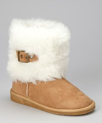 Tan Faux Fur Buckle Boot