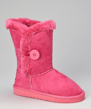 Fuchsia Faux Fur Button Boot