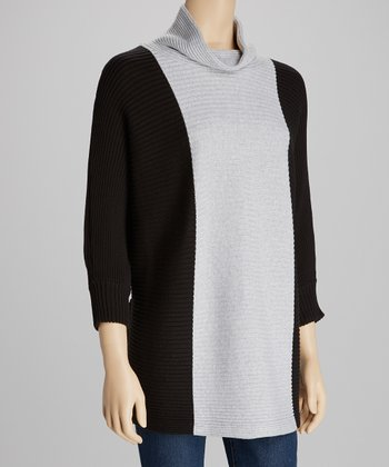 Gray & Black Cowl Neck Dolman Sweater