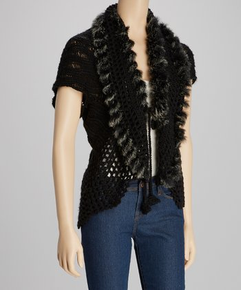 Black Crocheted Faux Fur Short-Sleeve Open Cardigan