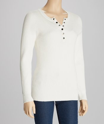 White Ribbed Long-Sleeve Henley