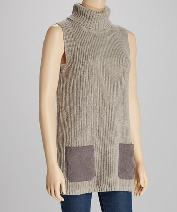 Heather Brown Cowl Neck Sleeveless Sweater