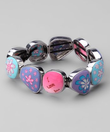 Pink & Blue Pebble Stretch Bracelet