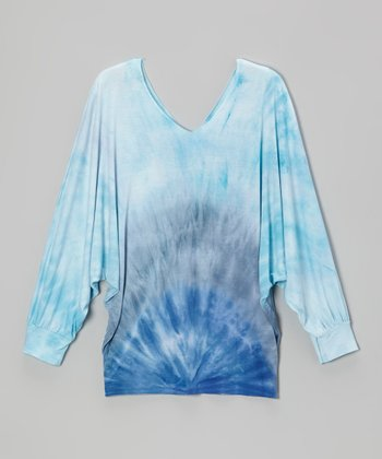 Blue Tie-Dye V-Neck Dolman Top