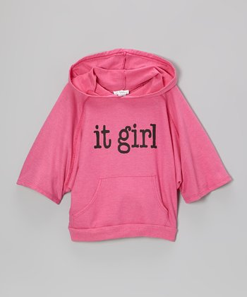 Bright Pink 'It Girl' Fleece Dolman Hoodie