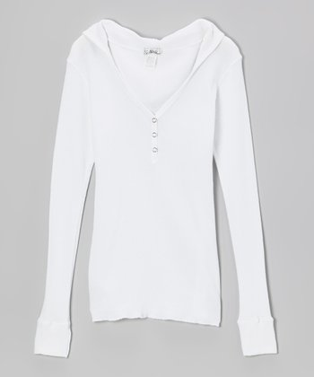 White Long-Sleeve Thermal Henley Hoodie