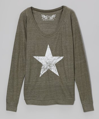 Olive Star Long-Sleeve Top