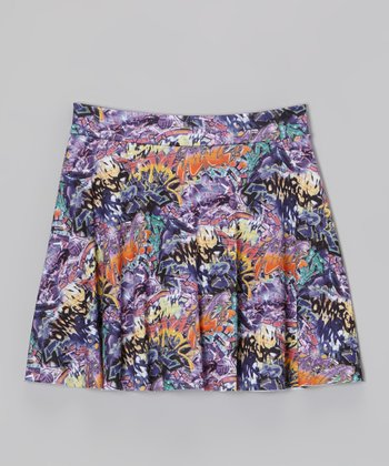 Purple Graffiti Ruffle Skirt