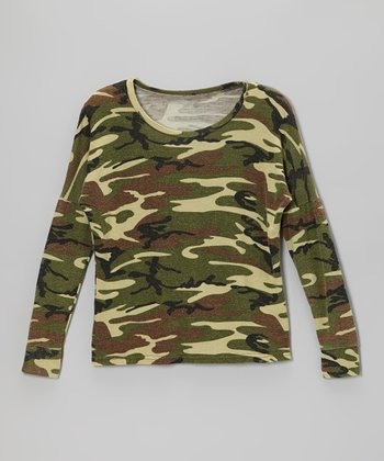 Green Camo Drop-Shoulder Tee
