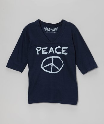 Navy 'Peace' Three-Quarter Sleeve V-Neck Top