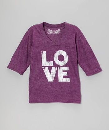 Purple 'Love' Three-Quarter Sleeve V-Neck Top