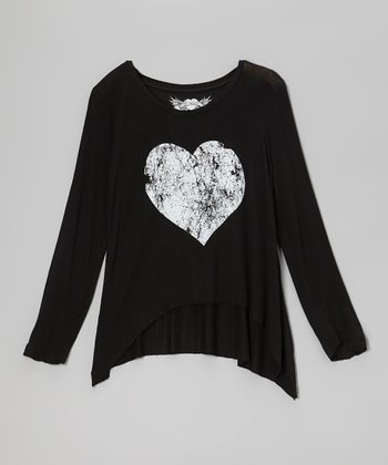 Black & White Heart Sidetail Top