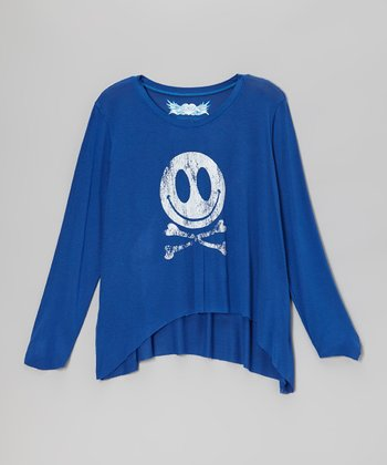 Royal Blue Smiley Face Crossbones Sidetail Top