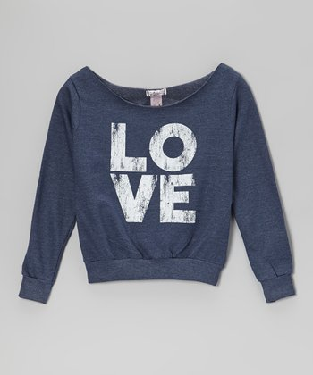 Blue 'LOVE' Scoop Neck Top
