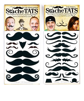 Suave Mustache Tattoo Set