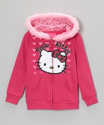 Hot Pink Heart Faux Fur Zip-Up Hoodie - Girls