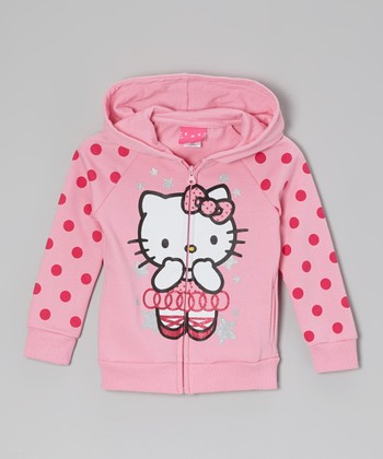 Paris Pink Polka Dot Zip-Up Hoodie -  Girls