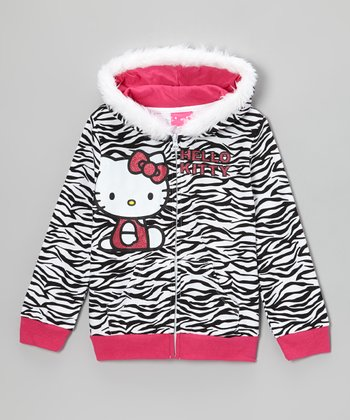 Black & White Zebra Faux Fur Zip-Up Hoodie - Toddler & Girls