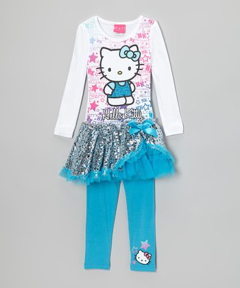 White & Blue Sequin Tutu Dress & Leggings - Girls
