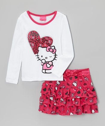 White 'Love' Heart Tee & Hot Pink Ruffle Skirt - Girls