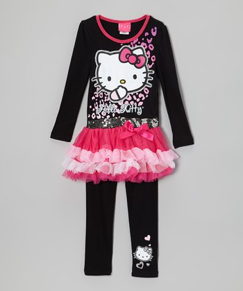 Black & Pink Sequin Tutu Dress & Leggings - Girls