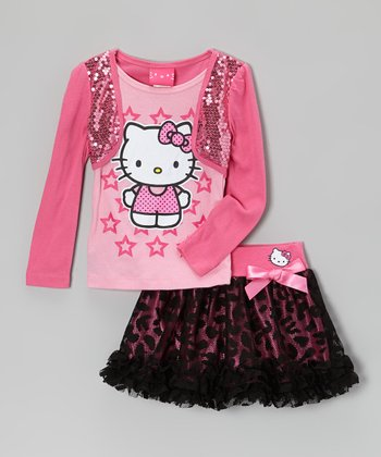 Paris Pink Sequin Layered Tee & Leopard Ruffle Skirt - Girls