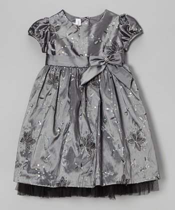 Dark Gray Embroidered Flower Dress - Toddler