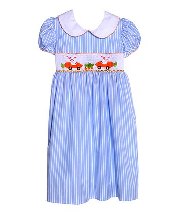 Blue Carrot Cars Smocked Dress - Girls