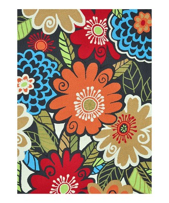 Blue & Orange Floral Aurora Rug