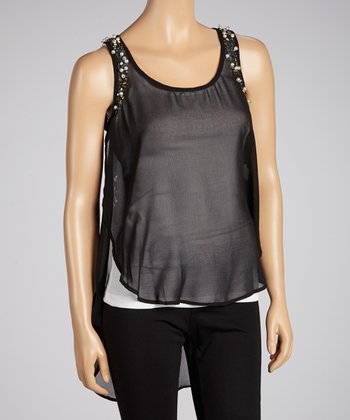 Black Sheer Sequin Tank