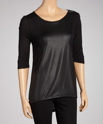 Black & Charcoal Shirttail Top