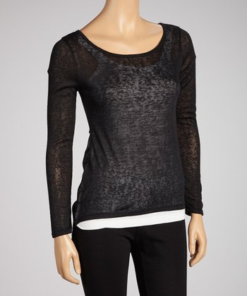 Black Sheer Shirttail Top