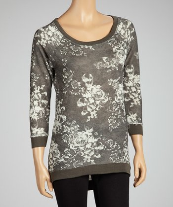 Black Floral Shirttail Top